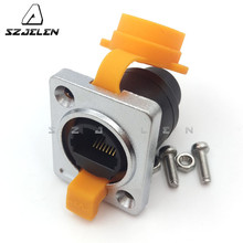 RJ45 waterproof connector sockets,Network Cable female connector,IP65, panel mount RJ45 connector