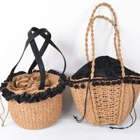 Hair ball lace Bohemian Beach Bag for Women retro Handmade Straw Bags Summer Travel Handbags Drawstring Basket Bag leisureTote