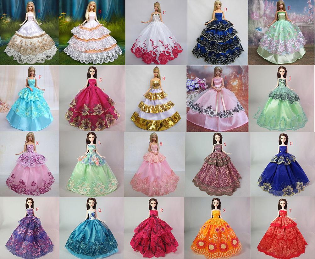 One Piece Many Colors Fashion Handmade Clothes Dresses Grows Outfit for Barbie Doll Dress for Girls High Quality
