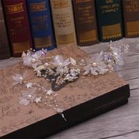 Невесты ручной работы головные уборы корейский цветок украшения для волос белый звезды бисером головы серьги Свадебные аксессуары для вол...