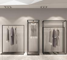 Simple clothing rack display mens and womens store shelves