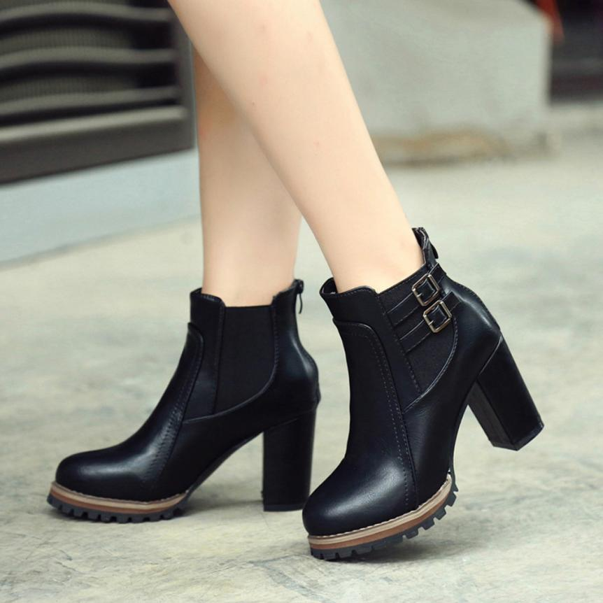Women Fashion Martin Ankle Boots Women 2018 New Autumn Winter Soft Leather Platform Shoes Woman Party Ankle Boots High Heels bottes femmes 2017 autumn fashion martin boots leather shoes woman platform square medium heel ankle boots for women plus size