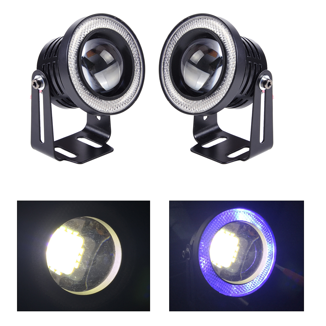 Universal 12V 2.5 10W White LED Projector Fog Lens DRL Driving Light with Blue LED Angel Eye Halo Ring for VW Audi Ford Toyota 2pcs 2 5 car angel eye cob ice blue halo ring led drl projector fog driving light