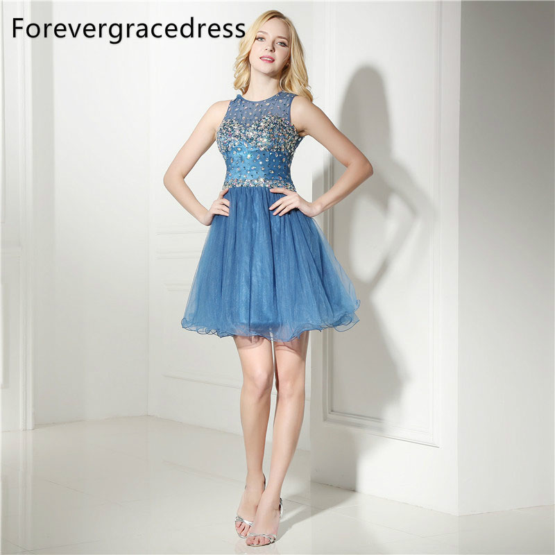 Forevergracedress Real Photos Crew Neck Cocktail Dress Sexy Short Tulle Beaded Crystals Homecoming Party Gown Plus Size