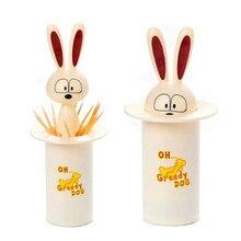 Automatische hund Zahnstocher Halter 1 stück nahrungsmittelgrad ABS Cartoon drücken zahnstocher halter box tischdekoration kostenloser versand Q-317