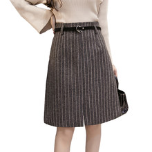 2018 herbst Winter Röcke Frauen Hohe Taille Büro Dame Wolle Rock Plus Größe  Mode Elegante Streifen 5211d8611a