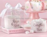 Sugar Spice Everything Nice Sugar Bowl Tea Party Wedding Favor Storage Bottle 2pcs Lot Sweet