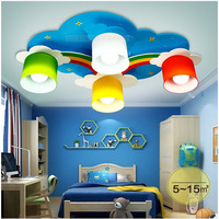 HGHomeart Modern LED Yellow Cloud Bedroom Ceiling Lamps Children Kid S Study Room Colorful Flowers Wooden