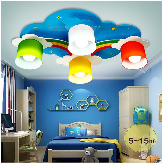 Modern led yellow cloud bedroom ceiling lamps children kid s study room colorful flowers wooden