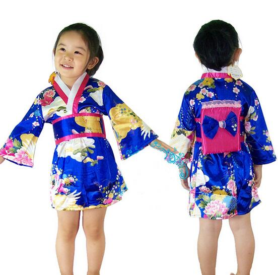 Gril/'s Vintage traditional Japanese Kimono Yukata Haori Kids/' Yukata obi Dress