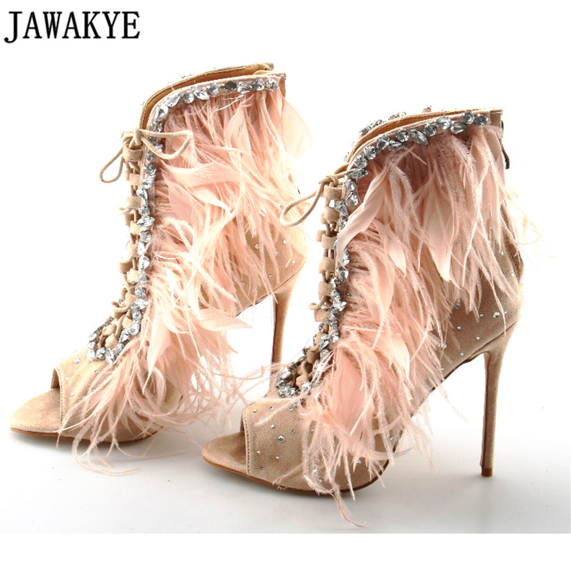 Crystal Feather Peep Toe Ankle Boots Shoes Woman 2018 new Spring Gladiator Sandals Women Stiletto Plus Size High Heels Botas apoepo red pom poms peep toe sandals boots clear pvc front zip stiletto high heels ankle boots summer shoes woman big size 2018