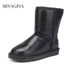 Nueva Llegada de Calidad superior 100% Real Clásica de Piel Mujer Botas Impermeables de Cuero Genuino del Zurriago de Botas Para la Nieve Zapatos de Invierno para Las Mujeres