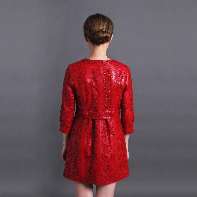 Automne Taille Veste Femmes Red Dames Creux Manteau 6xl Mouton Peau rXqEwXax