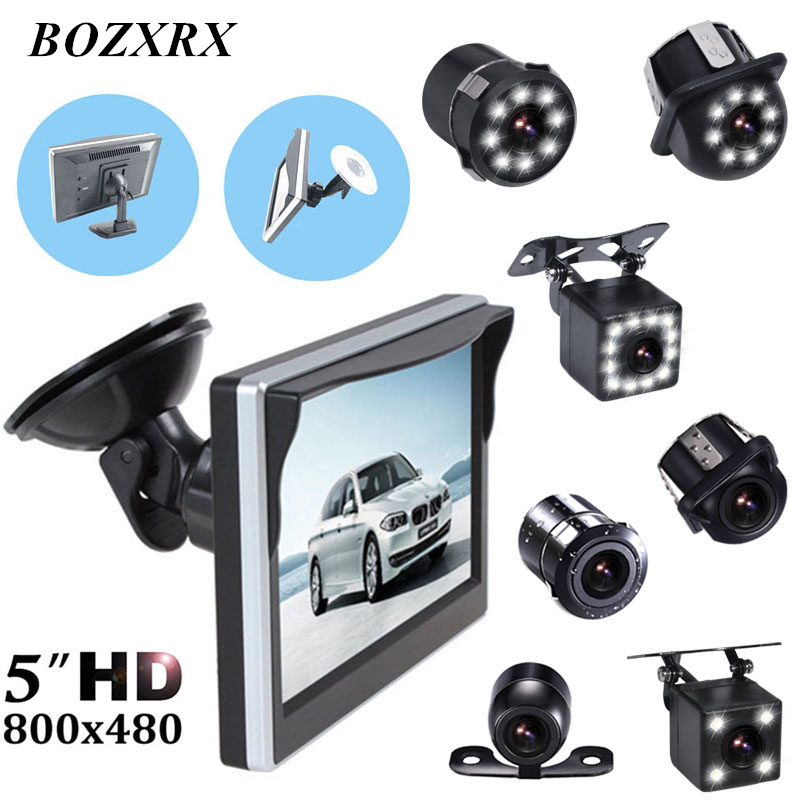 BOZXRX Car Parking Assistance With Rubber Vacuum Cup Bracket 5 Inch Rear View Monitor + Car Reversing Rearview Backup Camera