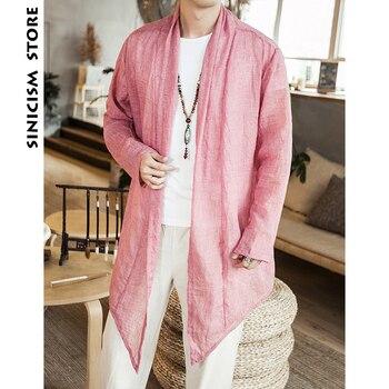 Sinicism Store Mens Cotton Linen Long Sleeve Shirts Summer Male Sunscreen Windbreaker Man Solid Open Stitch Shirts