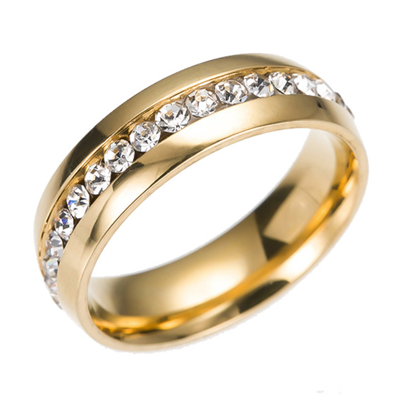 Single Row With Drill Zircon Korean Vintage Charm Stainless Steel Mens Jewelry Gold Silver Plated Couple Wedding Rings For Women