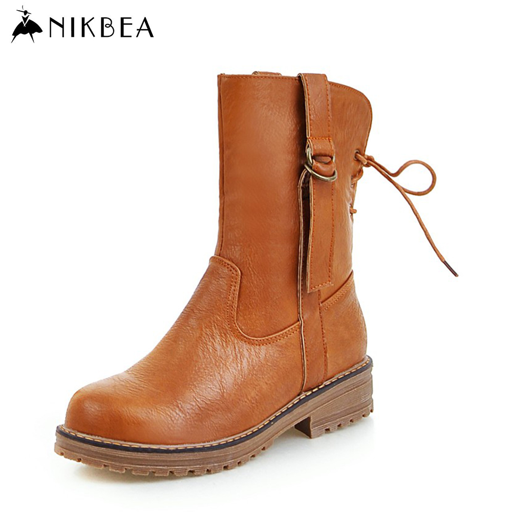 ed3b6525946c Nikbea Handmade Vintage Brown Lace Up Mid Calf Boots Women Large Size Flat  Boots 2016 Winter Shoes Autumn Pu Leather Boots