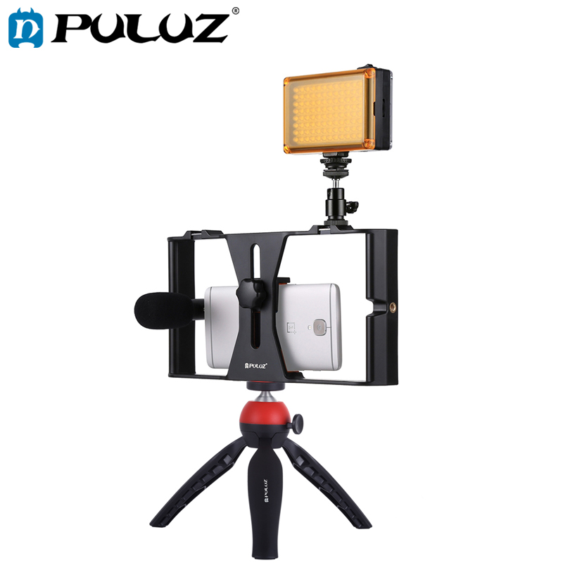 PULUZ Smartphone Video Rig Kits Filmmaking Recording Handle Stabilizer Bracket For IPhone X 7 8 Plus 4 In 1 Rig Kits