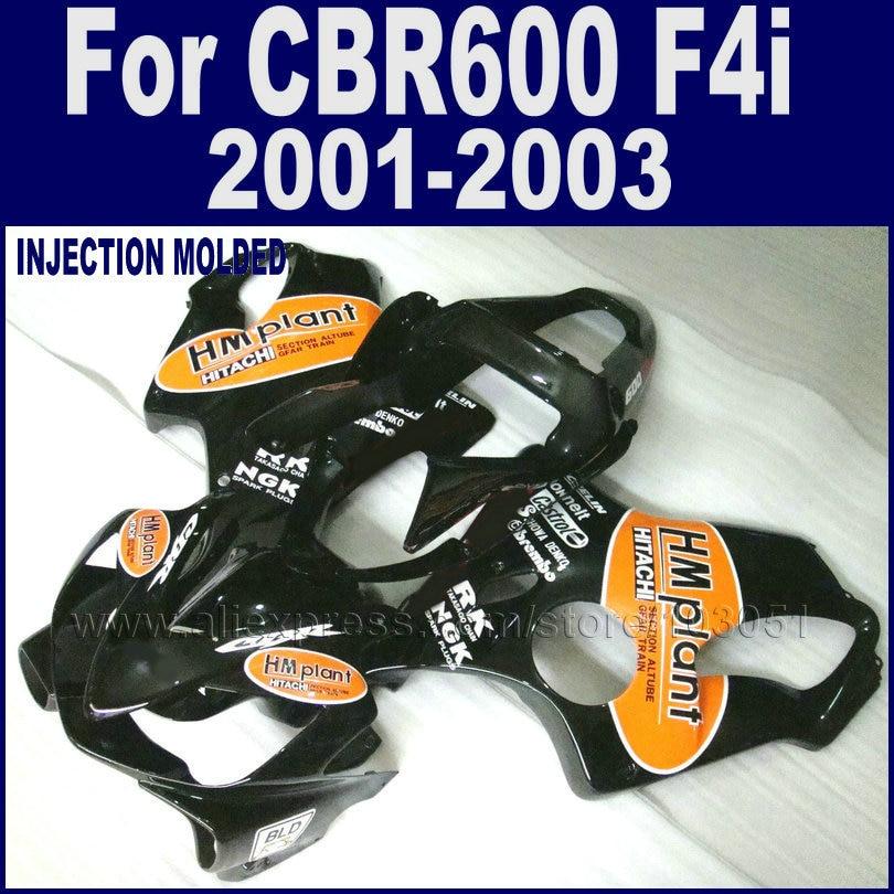Custom motorcycle injection fairings kit for Honda 2001 2002 2003 CBR 600 F4i 01 02 03 cbr600f4i black fairing body kits unpainted fairing kit for honda cbr 600 rr f4i 2001 2002 2003 cbr600rr cbr600 rr f4i 01 03 02 motorcycle injection mold fairings