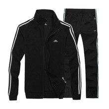 L-8XL Men Sportswear Zipper Sport Jacket Sweater Sweatshirt+pants Male Running Jogging Leisure Casual Outdoor Set Suit