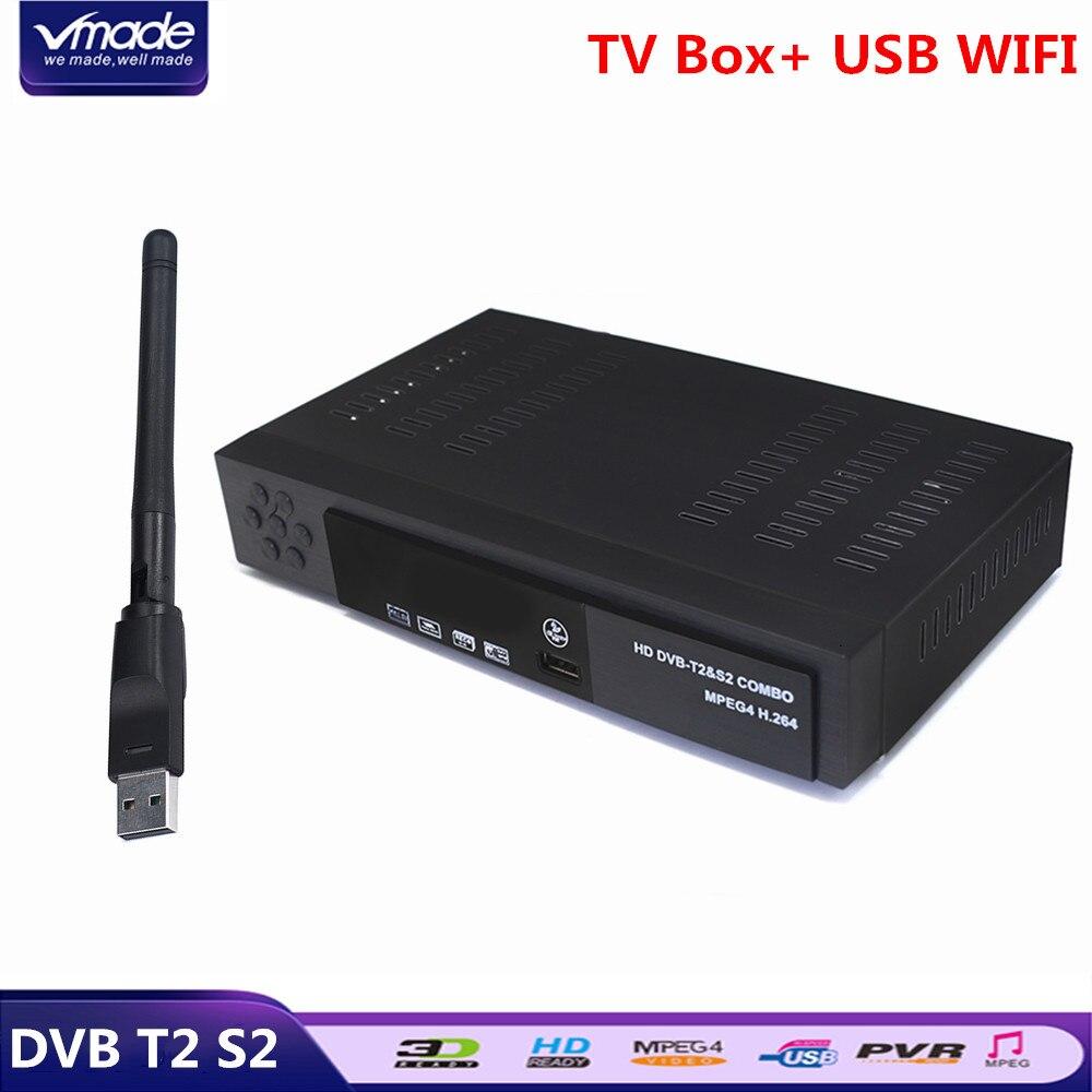 Vmade HD Digital Terrestre Receptor de Satélite DVB-T2 DVB-S2 + Dolby USB WIFI H.264 Suporte Cccam Youtube Combo Set-Top caixa