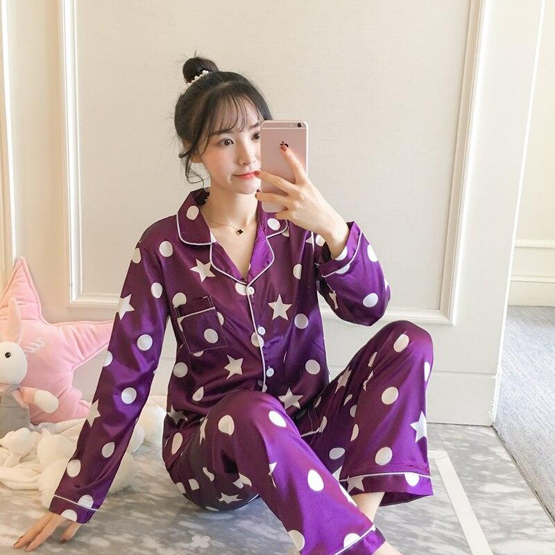 Women Nightwear 2019 Spring Summer   Pajamas   Silk Print Sweet Women Sleepwear   Set   Girl Nightgown Long Pant Cute Silk   Pajamas     Sets