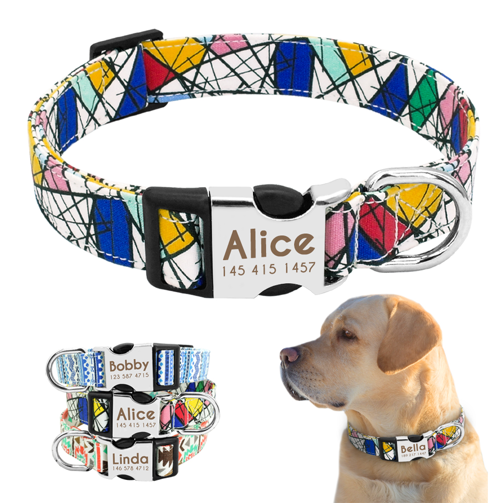 Collare per cani in Nylon collare per animali personalizzato targhetta identificativa incisa targhetta riflettente per cani di taglia medio-piccola Pitbull Pug 2