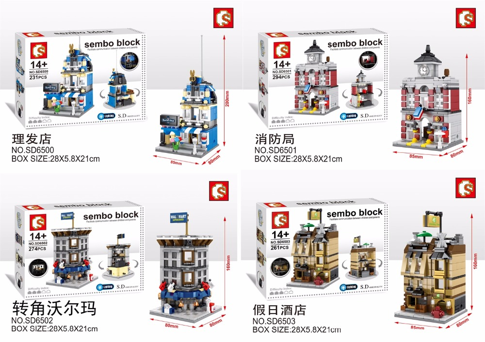 SEMBO Blocks Mini Store DIY Building Bricks Micro street Shop 3D Auction Model with Lighting Kids toys Girls Gift SD6500-SD6507 hot sembo block compatible lepin architecture city building blocks led light bricks apple flagship store toys for children gift