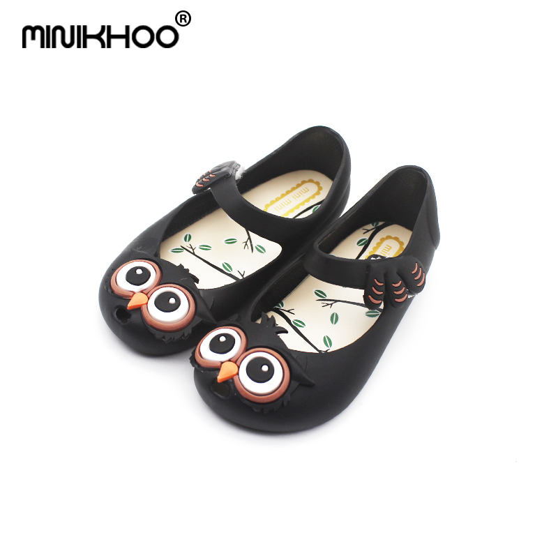 Mini Melissa Cute Owl Pattern Girls Jelly Sandals 2018 New Baby Jelly Sandals Children Shoes Melissa Sandals Non-slip 13-15.5cm