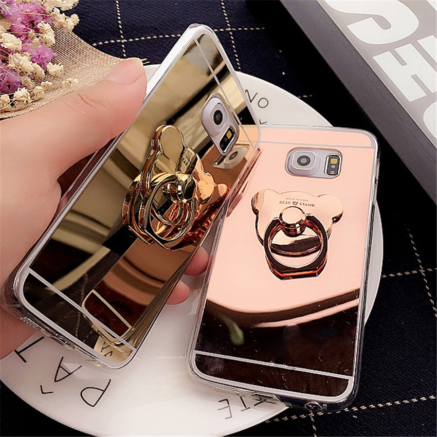 Cartoon Bear Mirror Case Clear Tpu Ring Phone Cases Cover