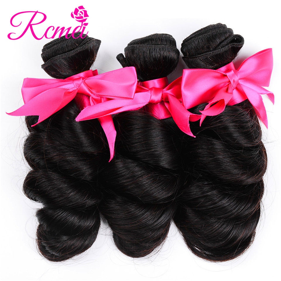 Rcmei Brazilian Loose Wave Hair Weave Bundles 3 Pieces Non Remy Human Hair Weaving Natural Color 8-28inch Weft Free Shipping