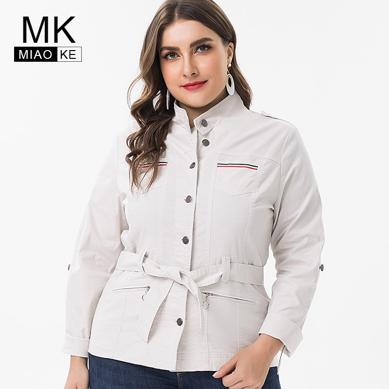 Miaoke 2019 spring ladies Plus Size   trench   coat womens Clothing fashion streetwear Vintage extra large size   trench   coat