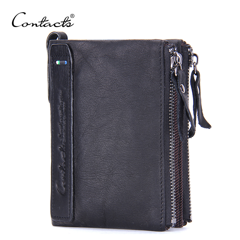 CONTACTS New Genuine Leather Organizer Wallets Brand Vintage Cowhide Leather Short Bifold Black Mens Wallet Purse Card Holders