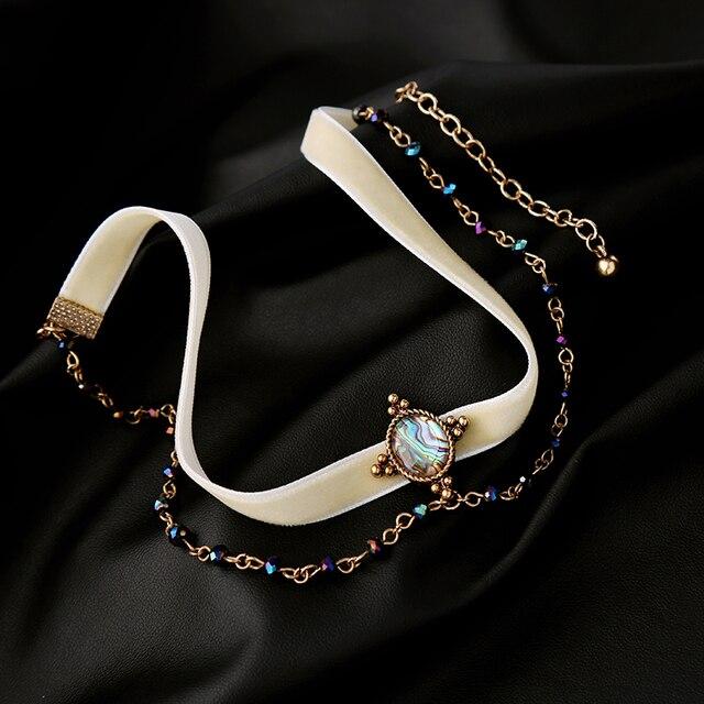 Новое ожерелье с двойными цепочками белое бархатное колье ожерелье  смешанные цвета Брендовые украшения для вечерние женские d841855933c