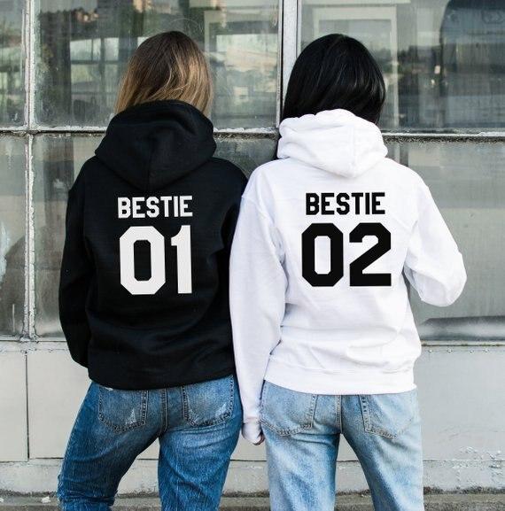 Sugarbaby Bestie 01 Bestie 02 Hoodies Bff Gift Women Fashion Hoodie Best Friend Hoodies Bestie Gift High quality Tops hoodie