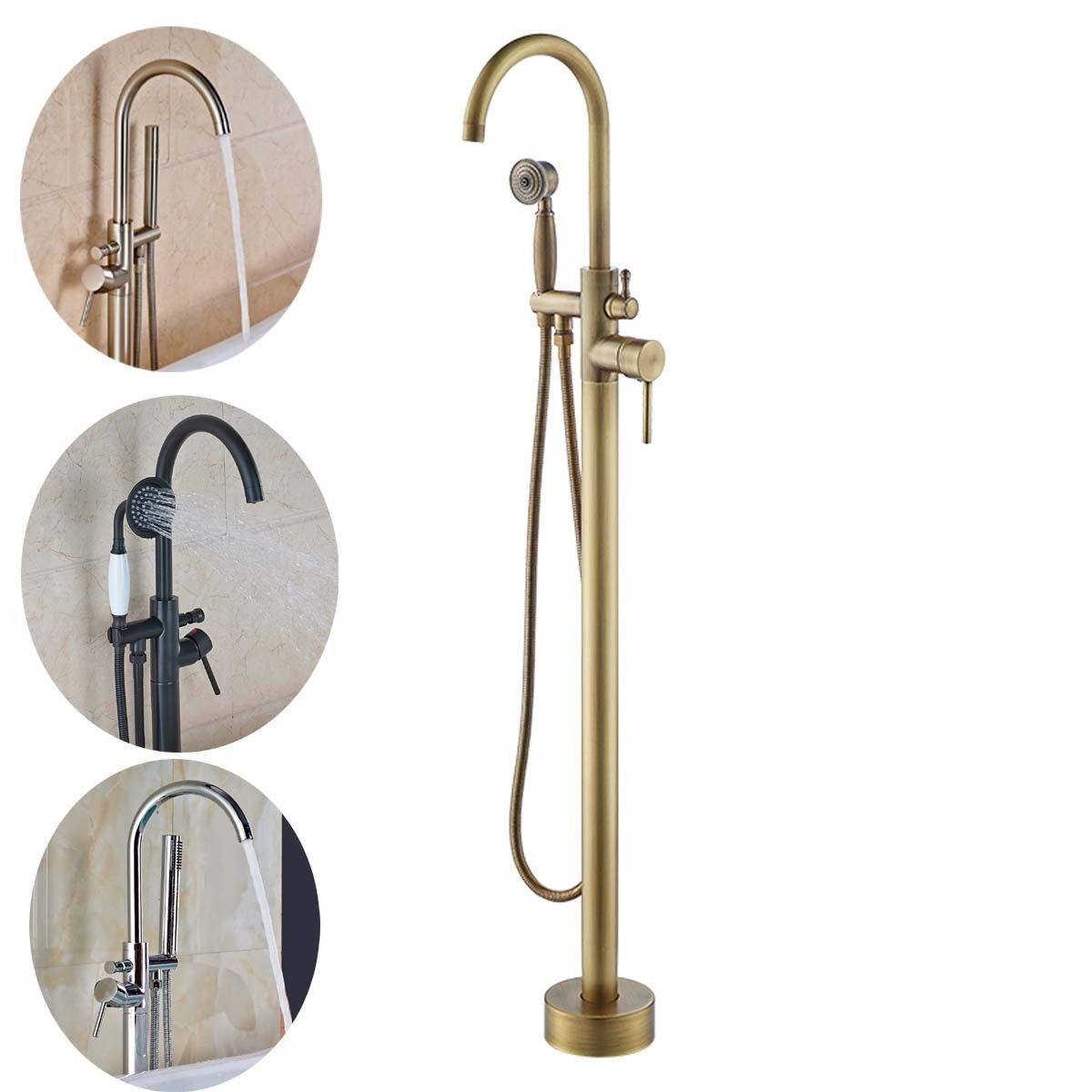 Gold/Chrome/Nickel/Antique/ORB High Rise Round Spout Bath Mixer Tap Floor Mounted anon маска сноубордическая anon somerset pellow gold chrome