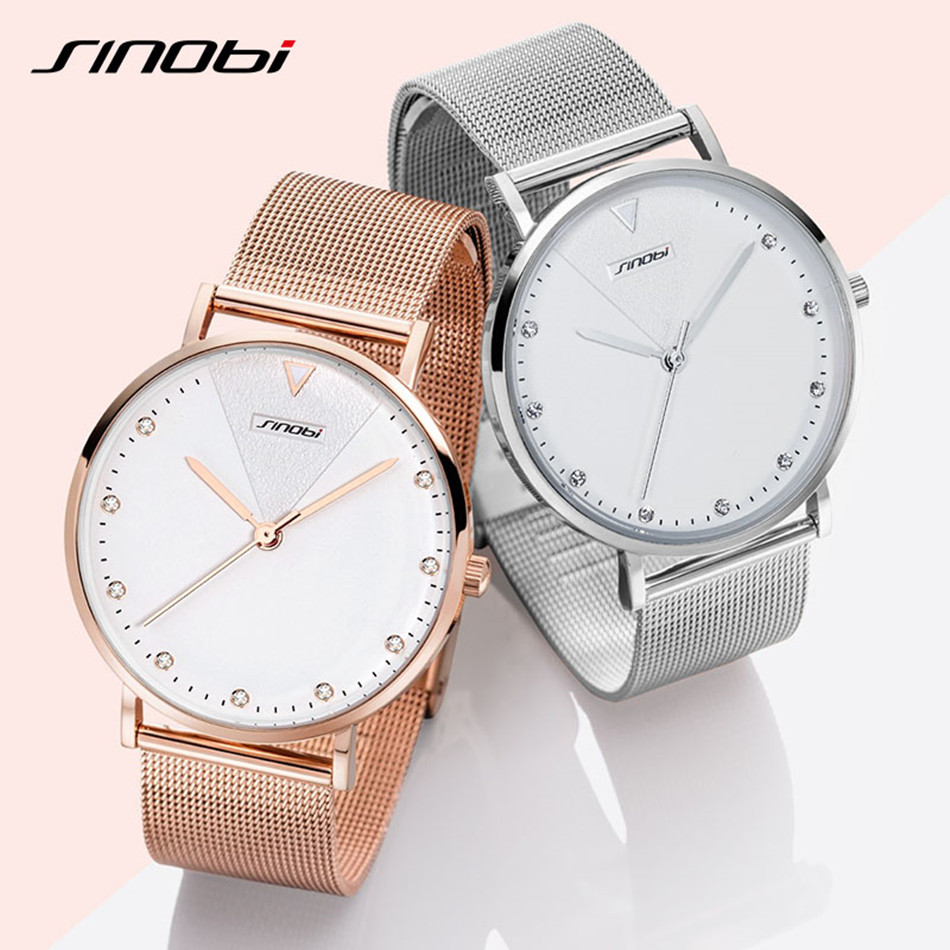 Image 4 - SINOBI Fashion Golden Women's Diamonds Wrist Watches Top Luxury Brand Ladies Geneva Quartz Clock Female Bracelet Wristwatch 2017-in Women's Watches from Watches