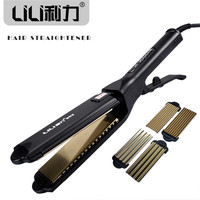 LILI Professional Titanium Hair Straightener Iron Flat Iron Hair Straight Hair Curly Dual Function Hair Styling