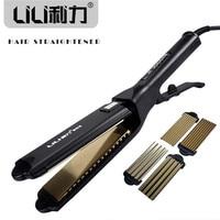 LILI Professional Titanium Hair Straightener Iron Flat Iron Hair Straight Hair Curly Dual Function Hair Styling