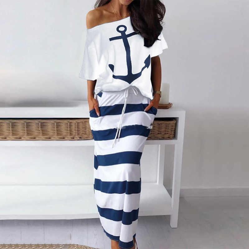 秋の女性のツーピースボートアンカープリント Tシャツスカートセットカジュアルマキシストライプスカートセクシーなオフショルダー衣装