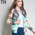 Китай 5XL 2017 Весна Куртку Женщины Основные Пальто Цветочный Печати Bee Бабочка Аппликации Мода Повседневная Верхняя Одежда #161950