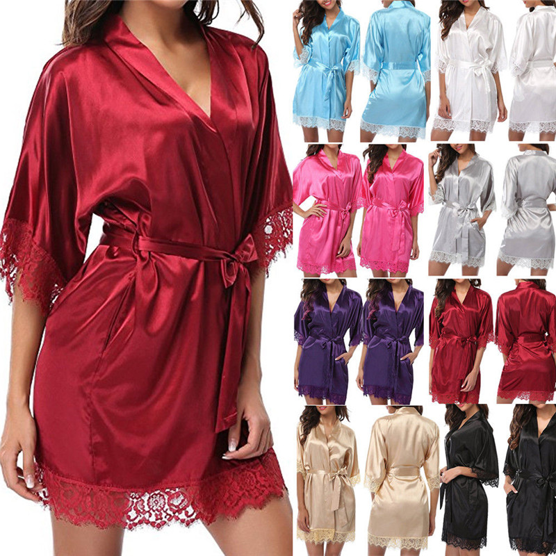 Mesh Spandex Wedding Bride Bridesmaid Robe Solid Bathrobe Short Kimono Robe Night Robe Bath Robe Fashion Dressing Gown For Women(China)