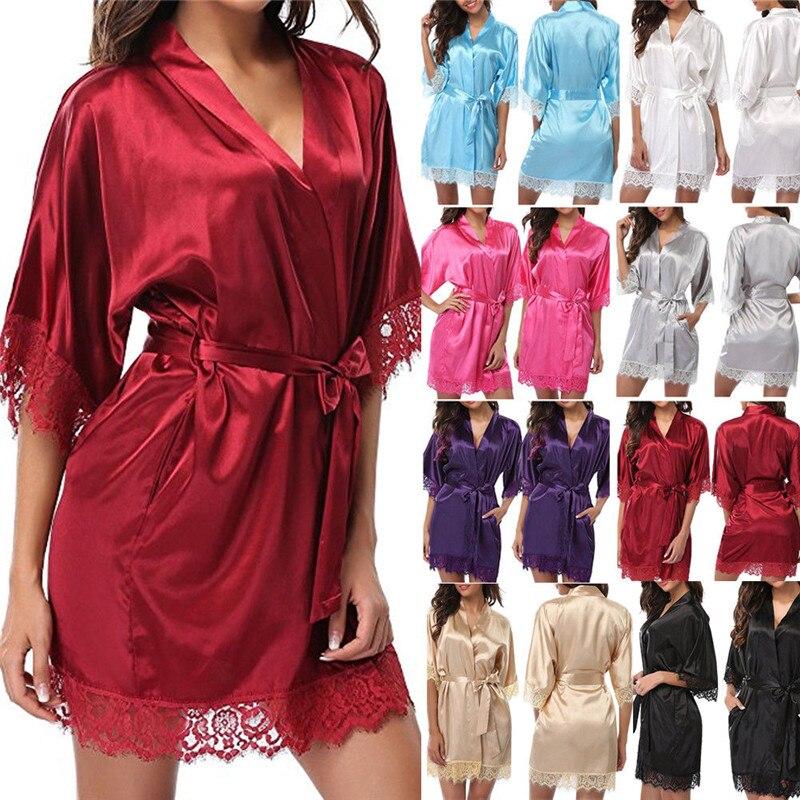 Mesh Spandex Wedding Bride Bridesmaid Robe Solid Bathrobe Short Kimono Robe Night Robe Bath Robe Fashion Dressing Gown For Women