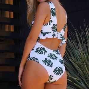 Image 5 - CUPSHE Green In The Forest One piece Swimsuit Women Deep V neck Back Cutout Ruffle Monokini 2020 Summer Bathing Suit Swimwear