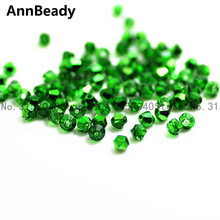 AnnBeady 100pcs New Green Color 4mm Bicone Crystal Beads Glass Beads Loose Spacer Beads DIY Jewelry Making Austria Crystal Beads