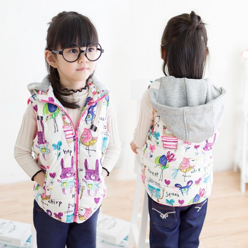 Autumn Winter Baby Girls Character print Warm Vest Girls Winter Thick Hooded Waistcoat Girls Warm Outerwear