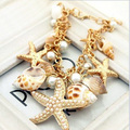 New Design Gold Plated Big Starfish Big Bib Necklaces/bracelet Crystal Choker Conch Shell Necklaces & Pendants For Women Gifts