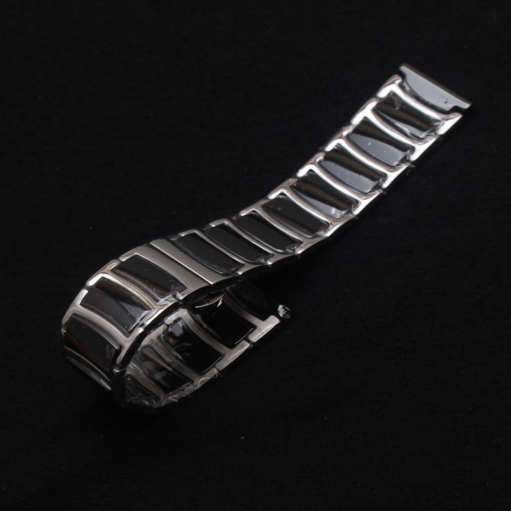 Black Ceramic Watchbands wrap Stainless steel wrist Accessories quartz watch bands 20mm 22mm Straight end strap bracelet thinner 20mm 22mm ceramic