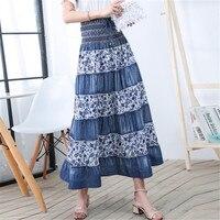 Maxi Skirt High Waist Denim Skirt Women Cotton Vintage Summer Ladies Casual Elastic Waist Patchwork Floral Long Skirts Ds50661