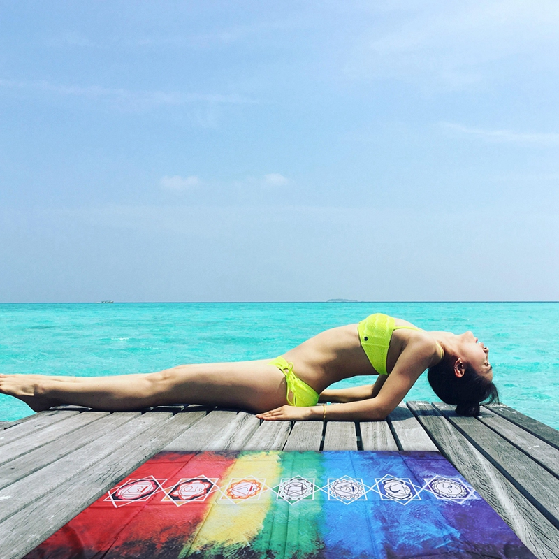 Adult Mandala Microfiber Rectangular Bohemian Tapestry Yoga Mat Rainbow Striped Beach Towel